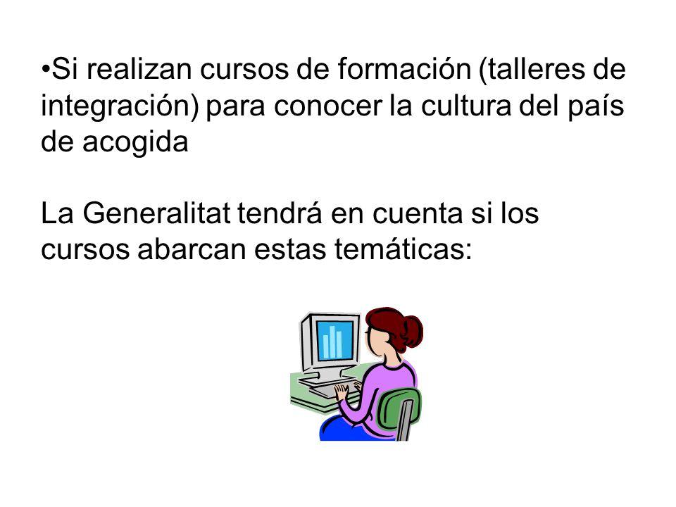 Si realizan cursos de formación (talleres de integración) para conocer la cultura del país de acogida La Generalitat tendrá en cuenta si los cursos abarcan estas temáticas: