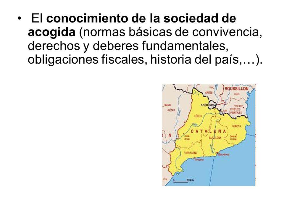 El conocimiento de la sociedad de acogida (normas básicas de convivencia, derechos y deberes fundamentales, obligaciones fiscales, historia del país,…).