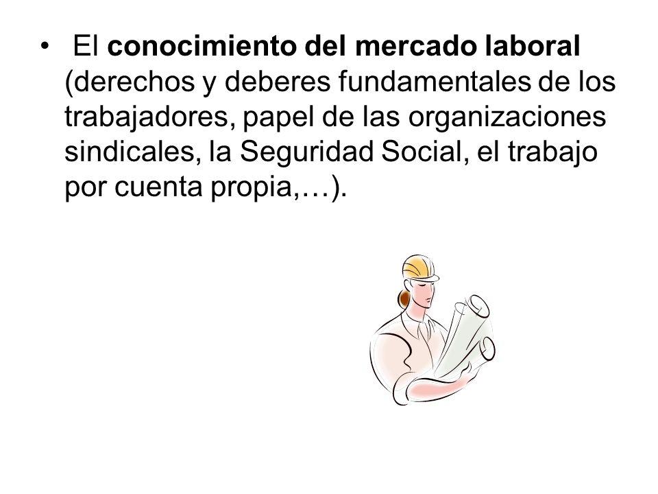 El conocimiento del mercado laboral (derechos y deberes fundamentales de los trabajadores, papel de las organizaciones sindicales, la Seguridad Social, el trabajo por cuenta propia,…).