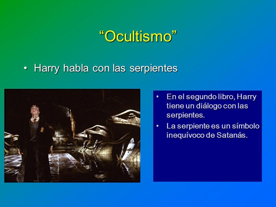 Ocultismo Harry habla con las serpientesHarry habla con las serpientes En el segundo libro, Harry tiene un diálogo con las serpientes.En el segundo li