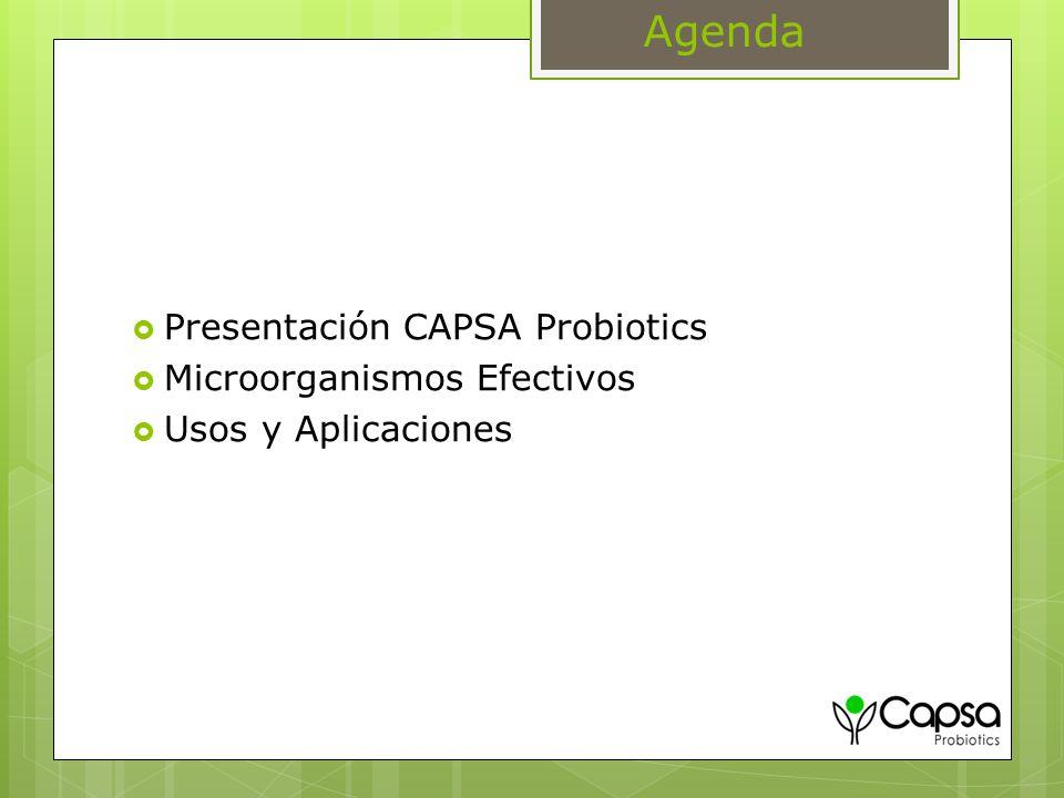 Agenda Presentación CAPSA Probiotics Microorganismos Efectivos Usos y Aplicaciones