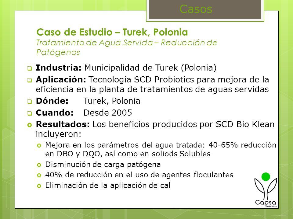 Caso de Estudio – Turek, Polonia Tratamiento de Agua Servida – Reducción de Patógenos Industria: Municipalidad de Turek (Polonia) Aplicación: Tecnolog