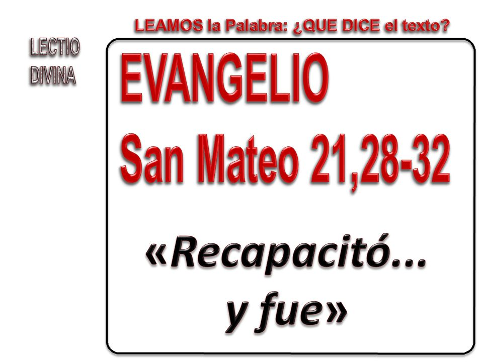 PROCLAMACION DEL EVANGELIO DE JESUCRISTO SEGÚN SAN MATEO R/.
