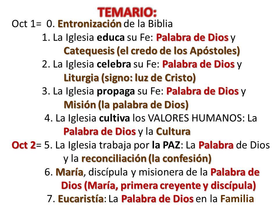 Entronización Oct 1= 0. Entronización de la Biblia Palabra de Dios Catequesis (el credo de los Apóstoles) 1. La Iglesia educa su Fe: Palabra de Dios y