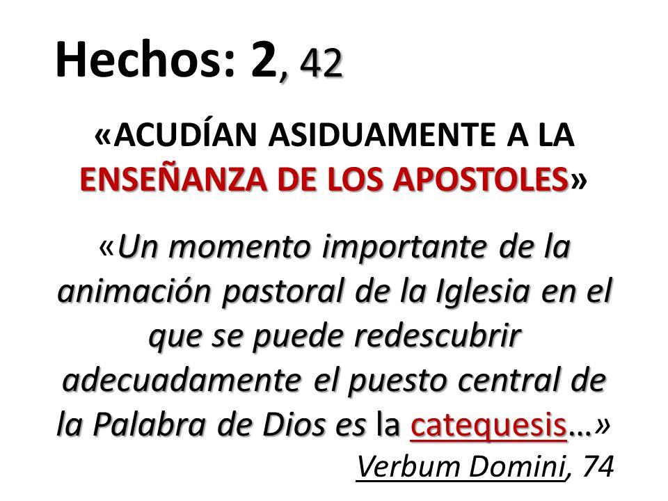 , 42 Hechos: 2, 42 ENSEÑANZA DE LOS APOSTOLES «ACUDÍAN ASIDUAMENTE A LA ENSEÑANZA DE LOS APOSTOLES» Un momento importante de la animación pastoral de