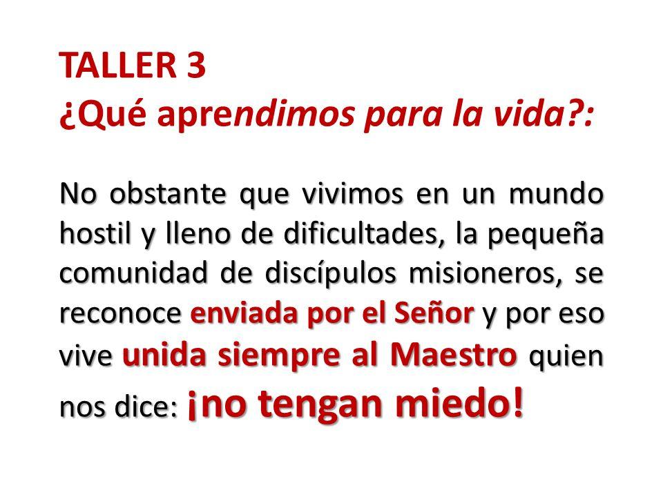 TALLER 3 ¿Qué aprendimos para la vida?: No obstante que vivimos en un mundo hostil y lleno de dificultades, la pequeña comunidad de discípulos misione