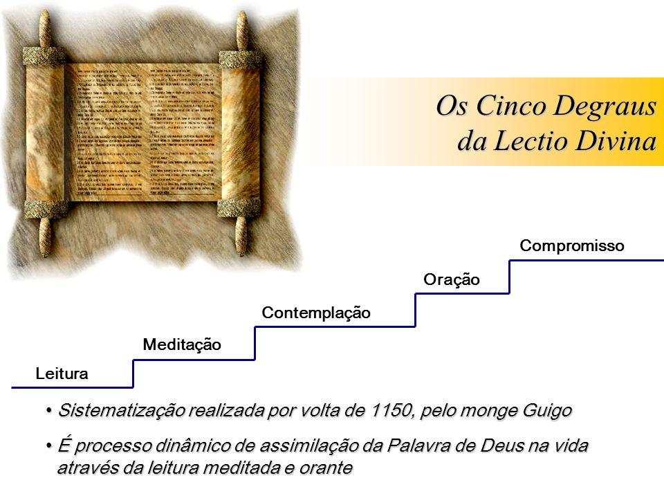 Leitura Meditação Oração Contemplação Os Cinco Degraus da Lectio Divina Sistematização realizada por volta de 1150, pelo monge Guigo Sistematização re