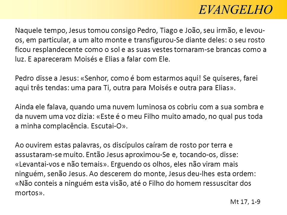 EVANGELHO Naquele tempo, Jesus tomou consigo Pedro, Tiago e João, seu irmão, e levou- os, em particular, a um alto monte e transfigurou-Se diante dele