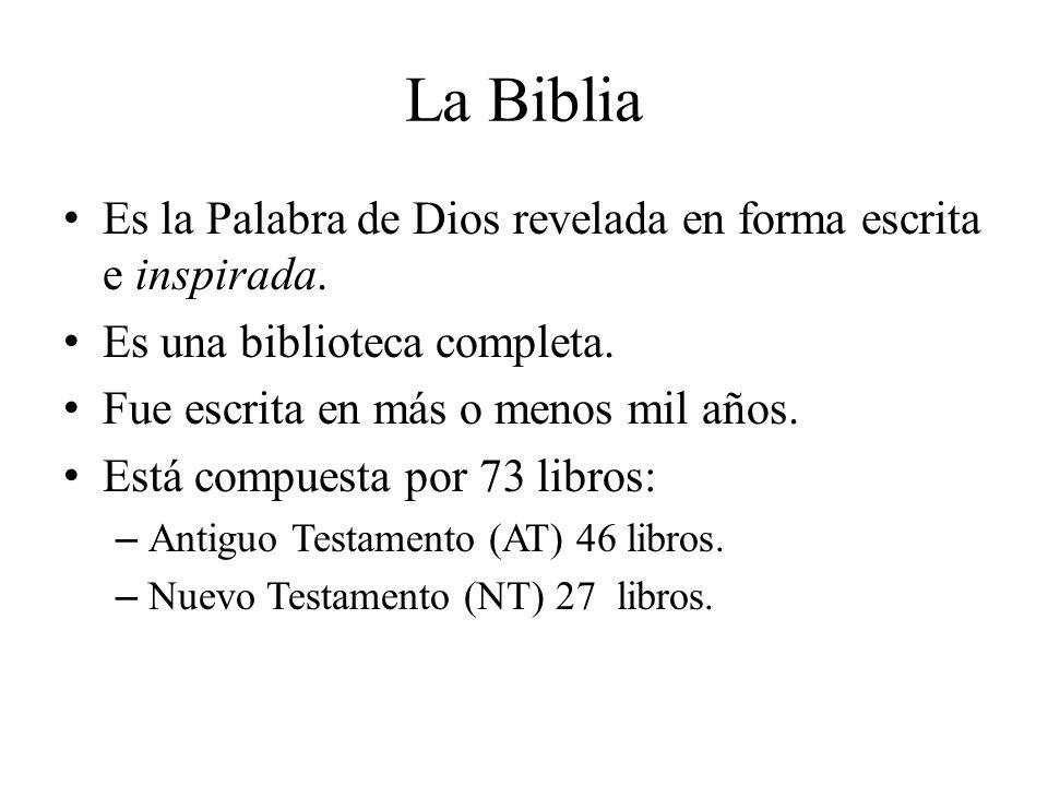 La Biblia Es la Palabra de Dios revelada en forma escrita e inspirada. Es una biblioteca completa. Fue escrita en más o menos mil años. Está compuesta