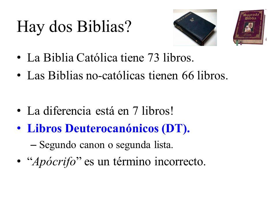 Hay dos Biblias? La Biblia Católica tiene 73 libros. Las Biblias no-católicas tienen 66 libros. La diferencia está en 7 libros! Libros Deuterocanónico