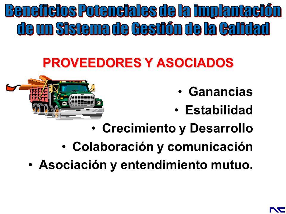 PROVEEDORES Y ASOCIADOS Ganancias Estabilidad Crecimiento y Desarrollo Colaboración y comunicación Asociación y entendimiento mutuo.