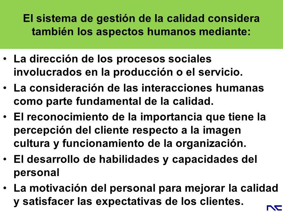 El sistema de gestión de la calidad considera también los aspectos humanos mediante: La dirección de los procesos sociales involucrados en la producci