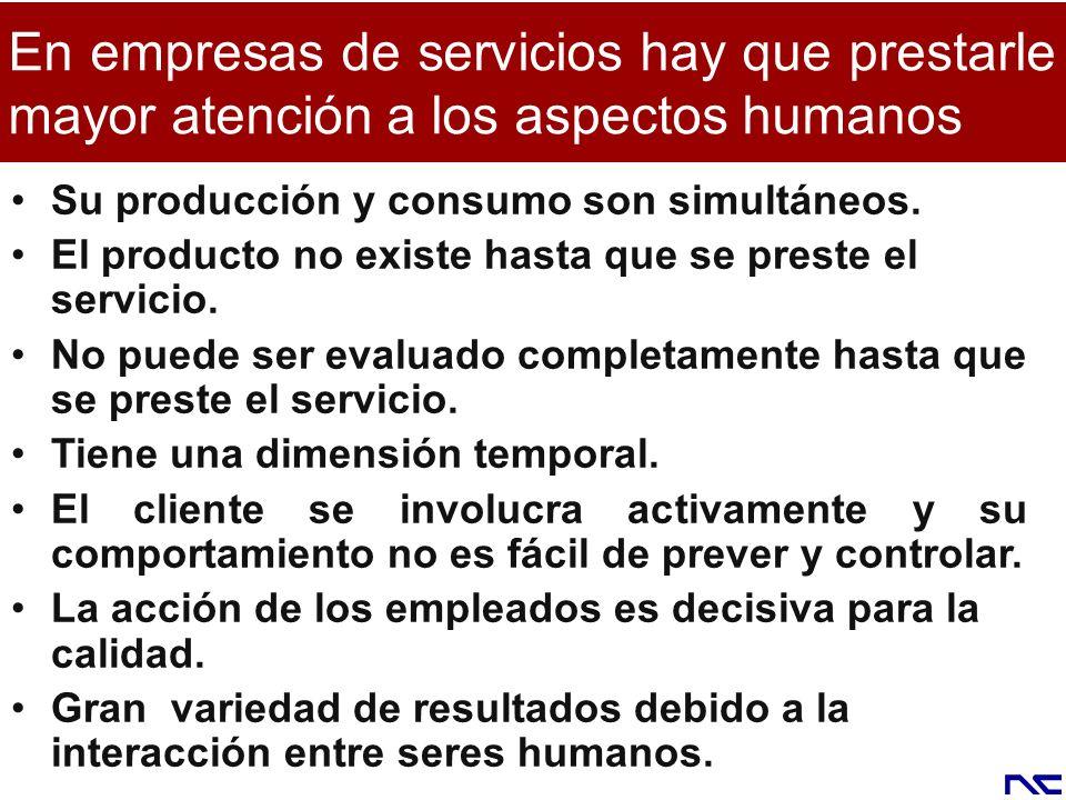 En empresas de servicios hay que prestarle mayor atención a los aspectos humanos Su producción y consumo son simultáneos. El producto no existe hasta