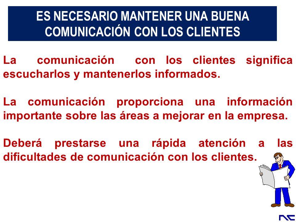La comunicación con los clientes significa escucharlos y mantenerlos informados. La comunicación proporciona una información importante sobre las área