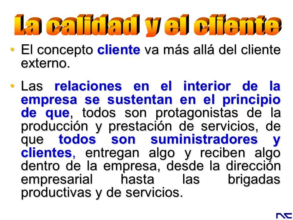 El concepto cliente va más allá del cliente externo.El concepto cliente va más allá del cliente externo. Las relaciones en el interior de la empresa s