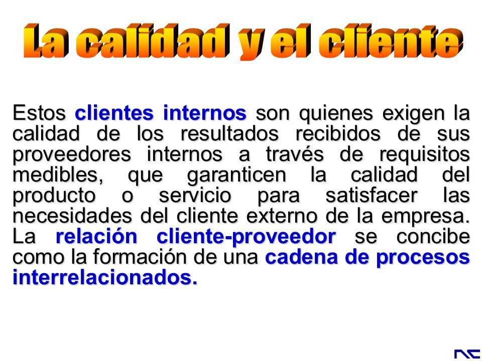 Estos clientes internos son quienes exigen la calidad de los resultados recibidos de sus proveedores internos a través de requisitos medibles, que gar