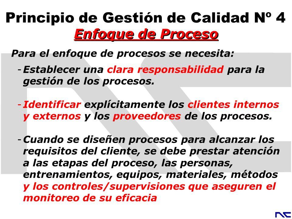 Para el enfoque de procesos se necesita: -Establecer una clara responsabilidad para la gestión de los procesos. -Identificar explícitamente los client
