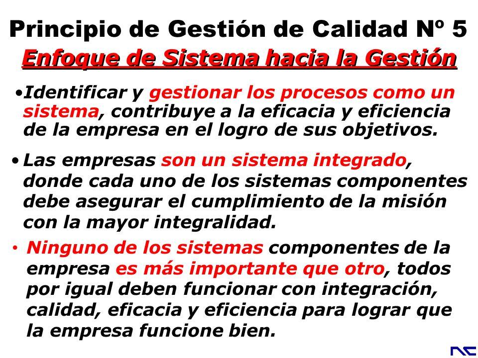 Enfoque de Sistema hacia la Gestión Principio de Gestión de Calidad Nº 5 Identificar y gestionar los procesos como un sistema, contribuye a la eficaci