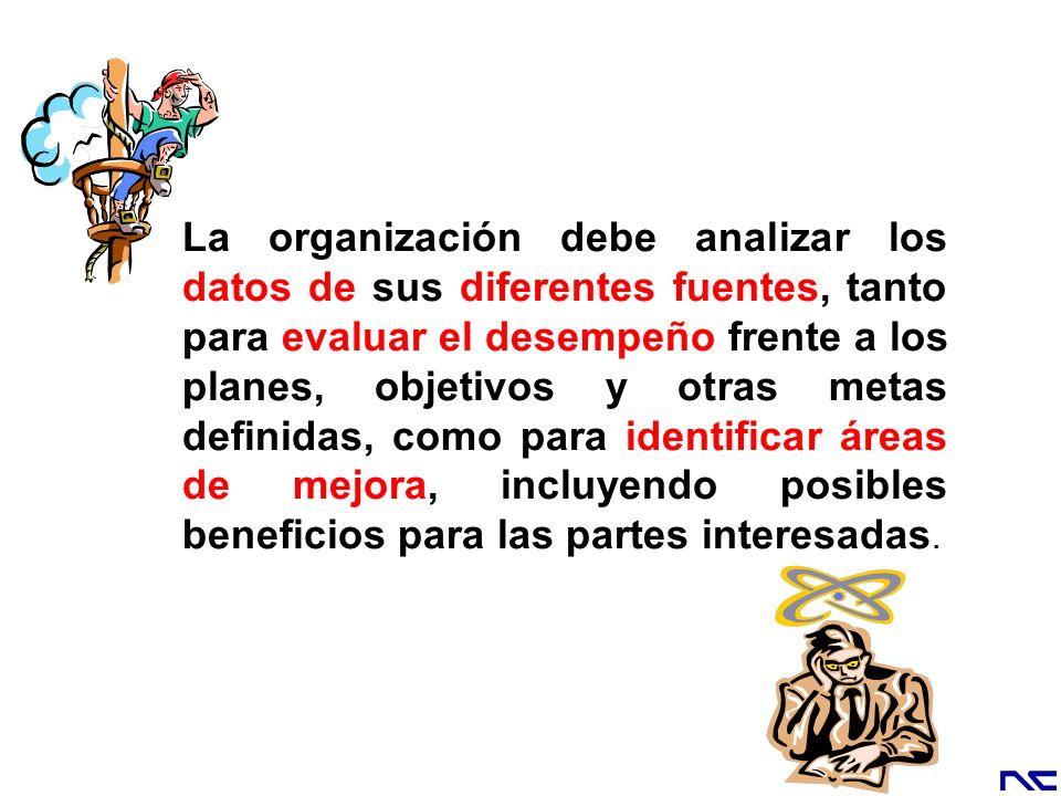 La organización debe analizar los datos de sus diferentes fuentes, tanto para evaluar el desempeño frente a los planes, objetivos y otras metas defini