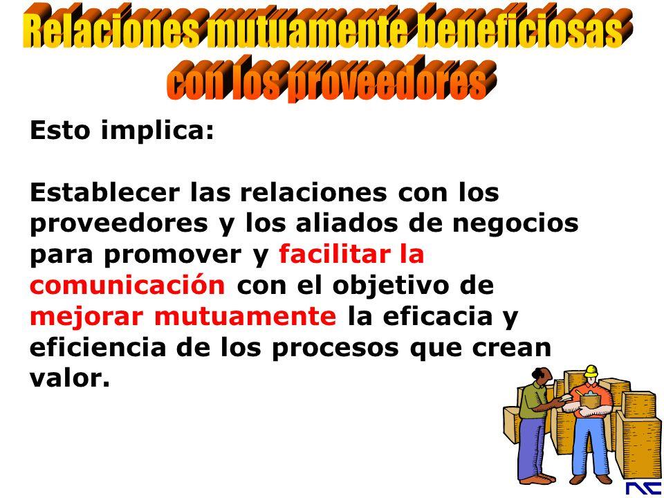 Esto implica: Establecer las relaciones con los proveedores y los aliados de negocios para promover y facilitar la comunicación con el objetivo de mej
