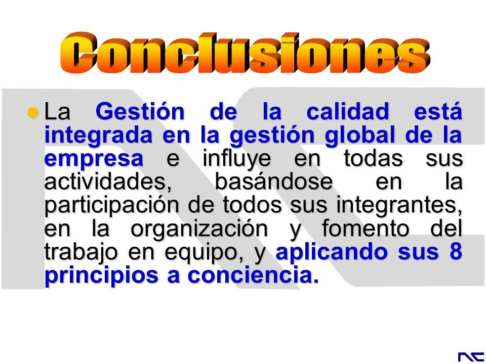La Gestión de la calidad está integrada en la gestión global de la empresa e influye en todas sus actividades, basándose en la participación de todos