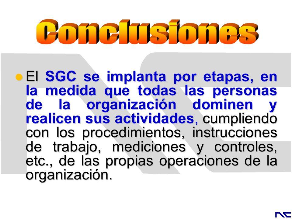 El SGC se implanta por etapas, en la medida que todas las personas de la organización dominen y realicen sus actividades, cumpliendo con los procedimi