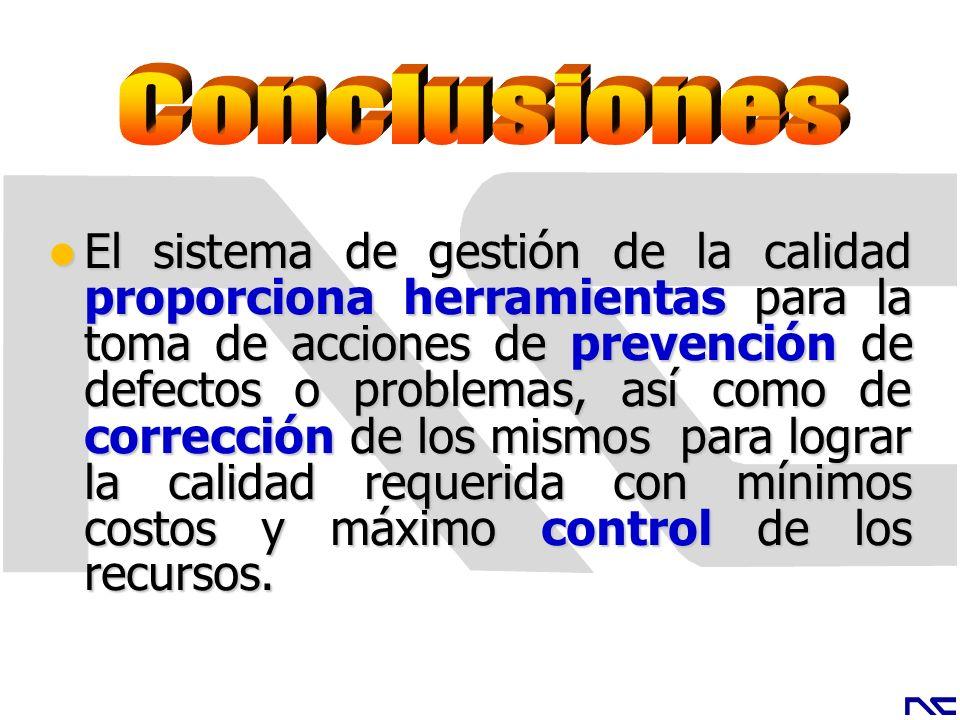 El sistema de gestión de la calidad proporciona herramientas para la toma de acciones de prevención de defectos o problemas, así como de corrección de