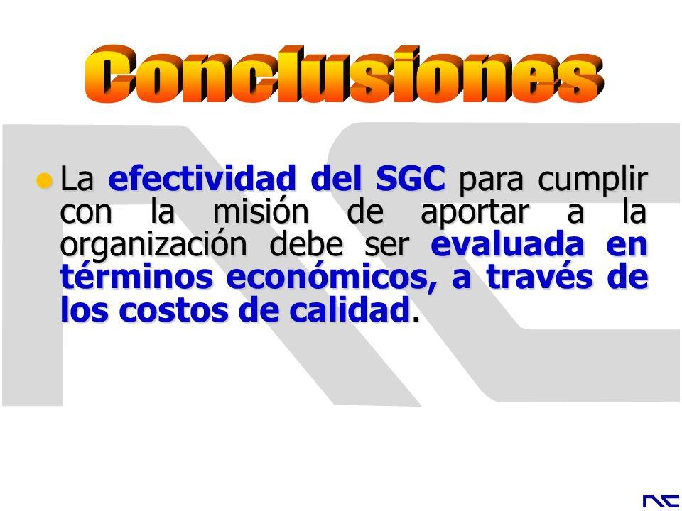 La efectividad del SGC para cumplir con la misión de aportar a la organización debe ser evaluada en términos económicos, a través de los costos de cal