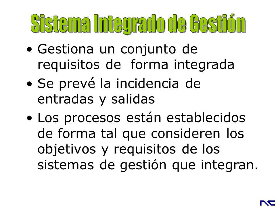 Gestiona un conjunto de requisitos de forma integrada Se prevé la incidencia de entradas y salidas Los procesos están establecidos de forma tal que co