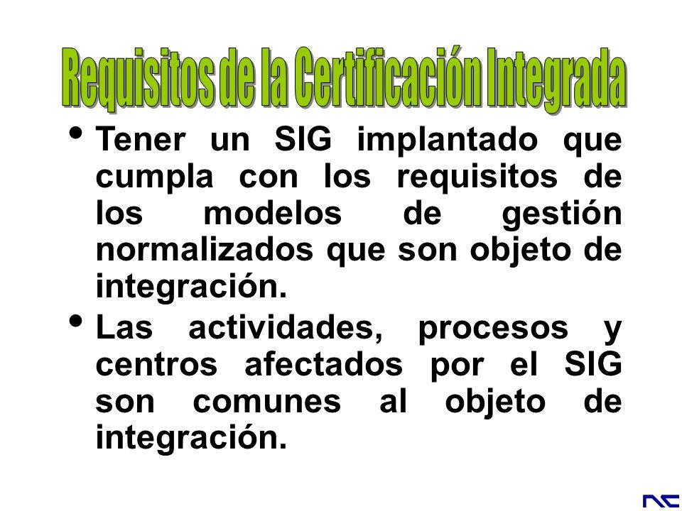 Tener un SIG implantado que cumpla con los requisitos de los modelos de gestión normalizados que son objeto de integración. Las actividades, procesos