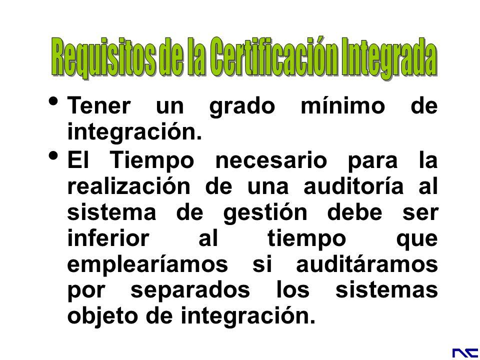 Tener un grado mínimo de integración. El Tiempo necesario para la realización de una auditoría al sistema de gestión debe ser inferior al tiempo que e