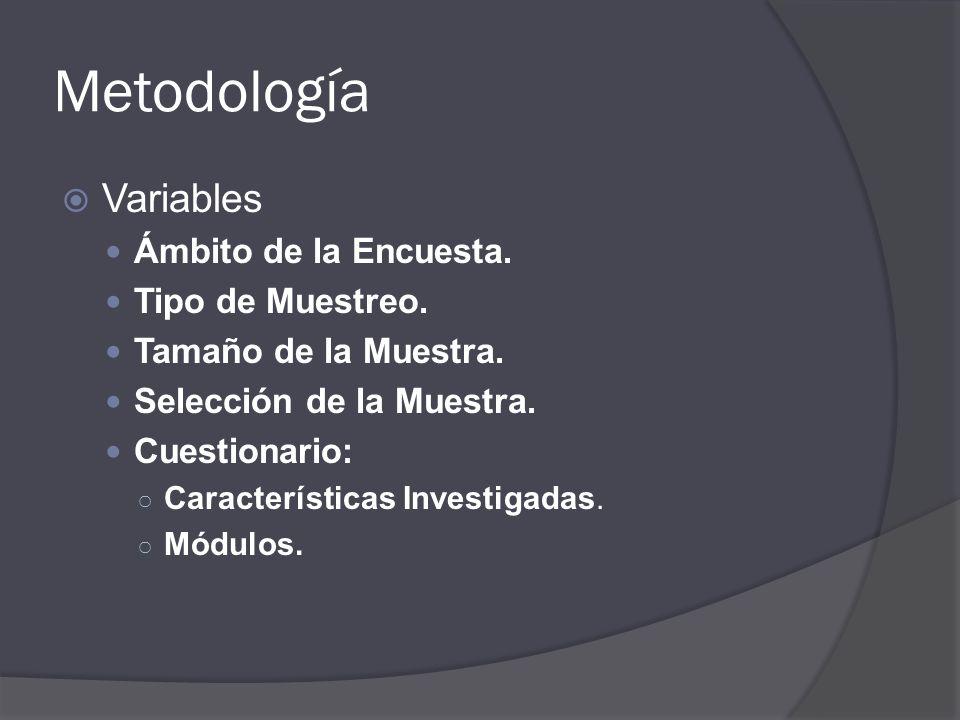Metodología Variables Ámbito de la Encuesta. Tipo de Muestreo. Tamaño de la Muestra. Selección de la Muestra. Cuestionario: Características Investigad
