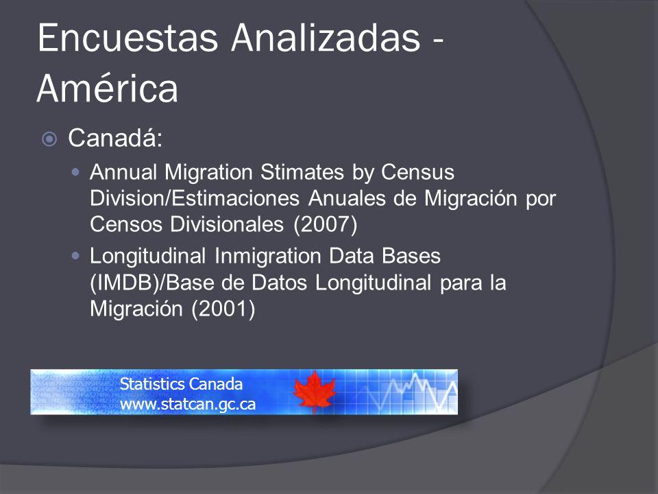 Encuestas Analizadas - América Canadá: Annual Migration Stimates by Census Division/Estimaciones Anuales de Migración por Censos Divisionales (2007) L