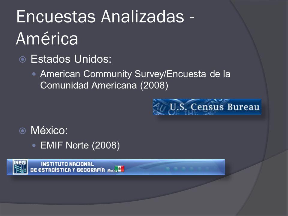 Encuestas Analizadas - América Argentina: Encuesta Complementaria de Migraciones (2006) Colombia: Encuesta de Colombianos Residentes en el Exterior (ECRE) Encuesta Nacional de Emigrantes Internacionales y Remesas (ENEIR)