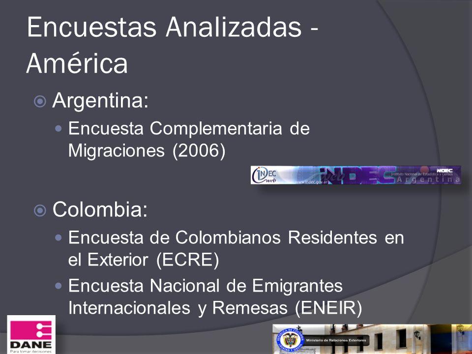 Encuestas Analizadas - América Argentina: Encuesta Complementaria de Migraciones (2006) Colombia: Encuesta de Colombianos Residentes en el Exterior (E