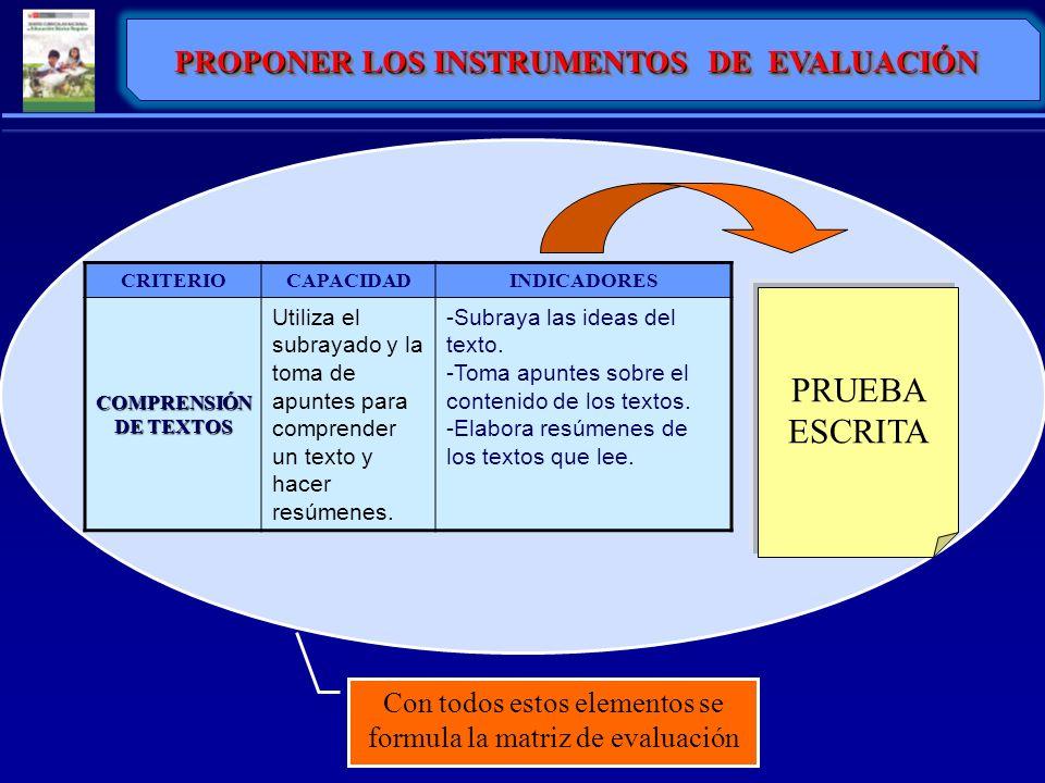 PROPONER LOS INSTRUMENTOS DE EVALUACIÓN CRITERIOCAPACIDADINDICADORES COMPRENSIÓN DE TEXTOS Utiliza el subrayado y la toma de apuntes para comprender u