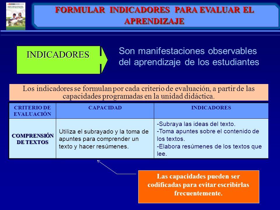 Son manifestaciones observables del aprendizaje de los estudiantes INDICADORES Los indicadores se formulan por cada criterio de evaluación, a partir d