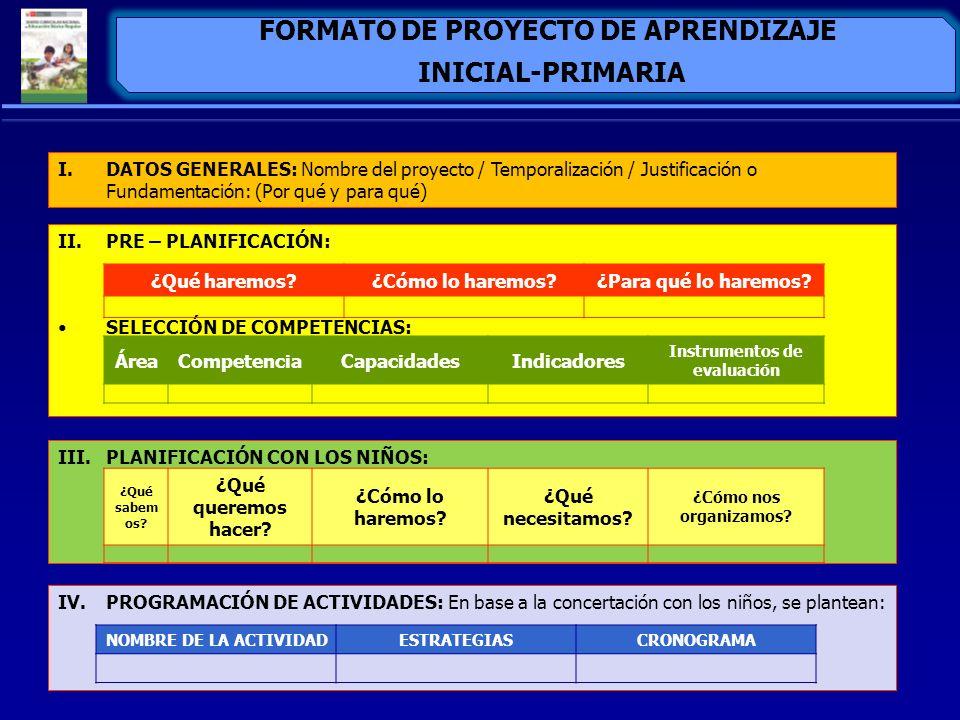 FORMATO DE PROYECTO DE APRENDIZAJE INICIAL-PRIMARIA I.DATOS GENERALES: Nombre del proyecto / Temporalización / Justificación o Fundamentación: (Por qu