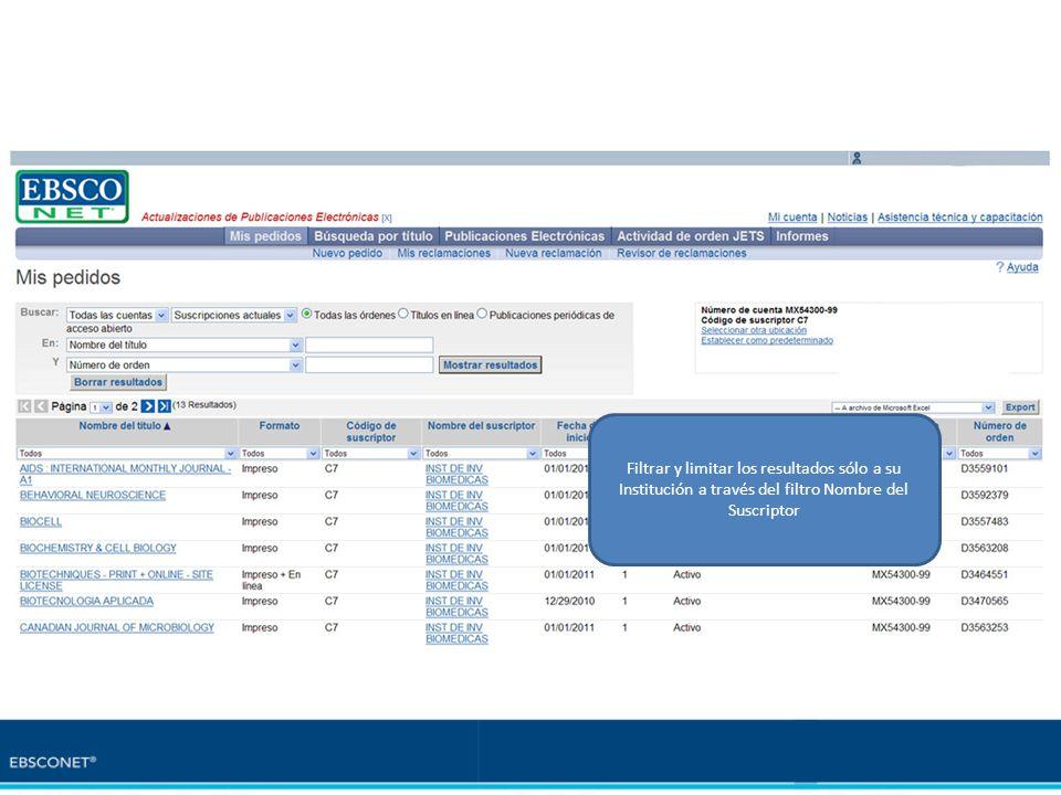 Listado mostrado aplicando el filtro NOMBRE DEL SUSCRIPTOR Filtrar y limitar los resultados sólo a su Institución a través del filtro Nombre del Suscr