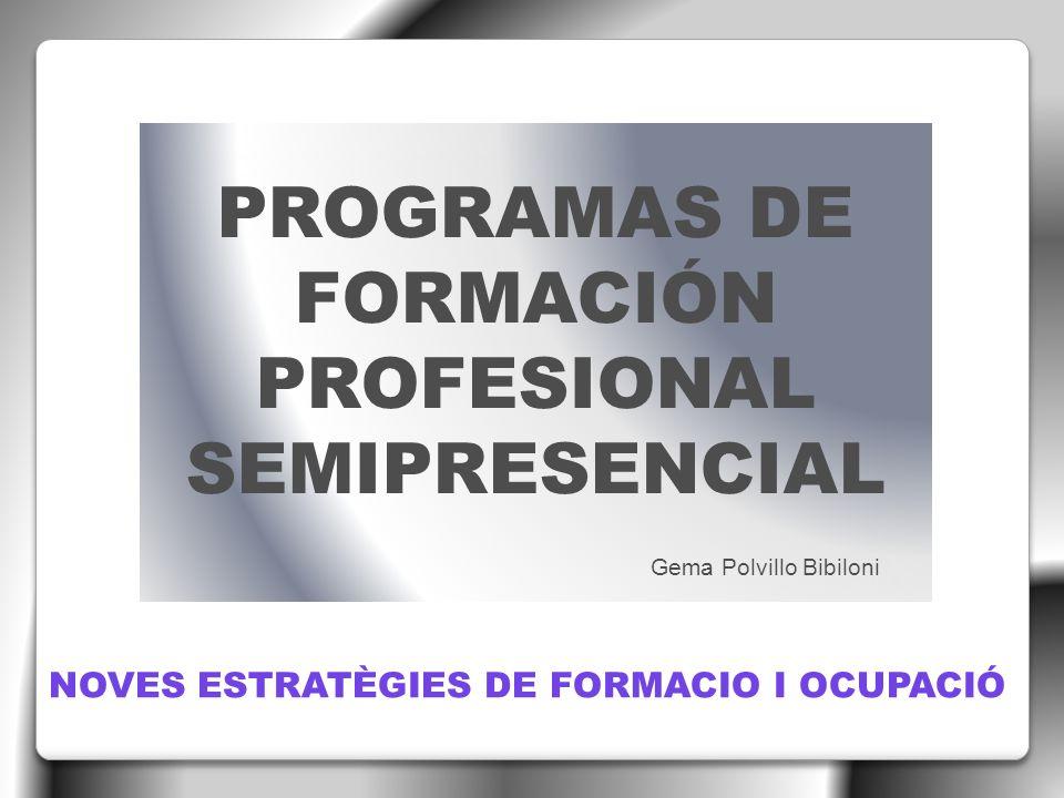 PROGRAMAS DE FORMACIÓN DEL FORMACIÓN PROFESIONAL PARA EL EMPLEO : - Prioritariamente para trabajadores desempleados - Prioritariamente para trabajadores ocupados ESCUELAS TALLER, CASAS DE OFICIOS Y TALLERES DE EMPLEO TALLERES DE EMPLEO RECICLAJE PROFESIONAL FORMACIÓN PROFESIONAL PARA EL EMPLEO SEMIPRESENCIAL TALLERES DE FORMACIÓN E INSERCIÓN LABORAL TALLERES DE FORMACIÓN PARA LA CONTRATACIÓN PLANES DE FORMACIÓN (PRIORITARIAMENTE PARA TRABAJADORES OCUPADOS