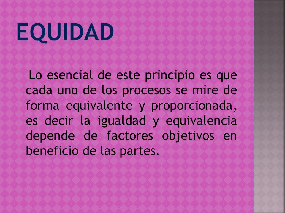 Lo esencial de este principio es que cada uno de los procesos se mire de forma equivalente y proporcionada, es decir la igualdad y equivalencia depend