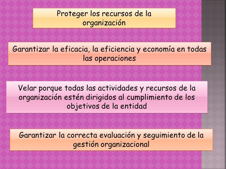 Proteger los recursos de la organización Garantizar la eficacia, la eficiencia y economía en todas las operaciones Velar porque todas las actividades