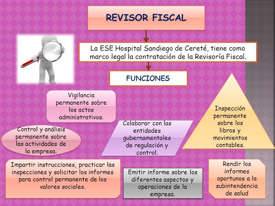 REVISOR FISCAL La ESE Hospital Sandiego de Cereté, tiene como marco legal la contratación de la Revisoría Fiscal. Control y análisis permanente sobre