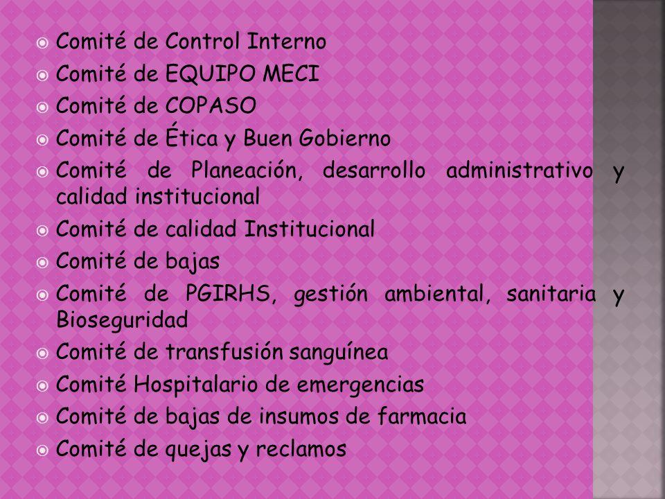 Comité de Control Interno Comité de EQUIPO MECI Comité de COPASO Comité de Ética y Buen Gobierno Comité de Planeación, desarrollo administrativo y cal
