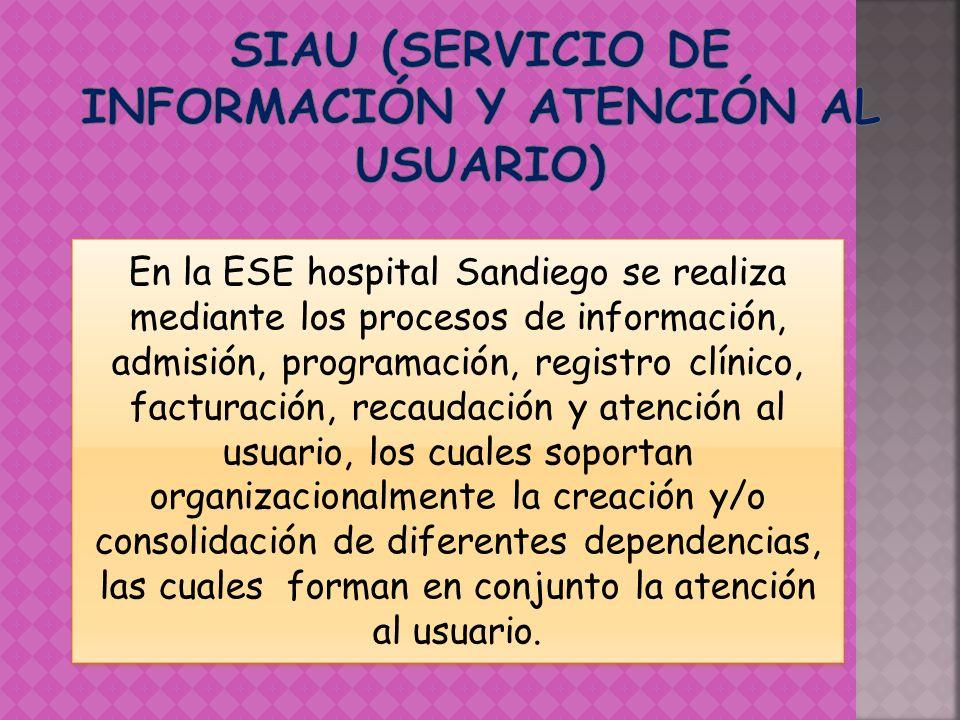 En la ESE hospital Sandiego se realiza mediante los procesos de información, admisión, programación, registro clínico, facturación, recaudación y aten