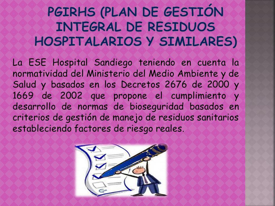 La ESE Hospital Sandiego teniendo en cuenta la normatividad del Ministerio del Medio Ambiente y de Salud y basados en los Decretos 2676 de 2000 y 1669