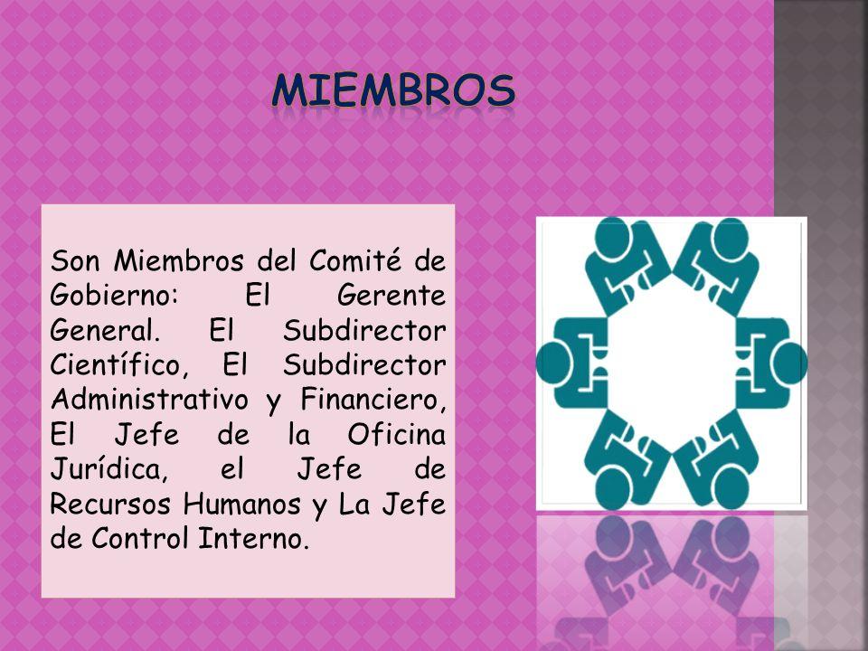 Son Miembros del Comité de Gobierno: El Gerente General. El Subdirector Científico, El Subdirector Administrativo y Financiero, El Jefe de la Oficina