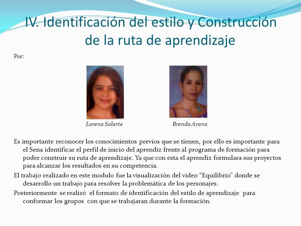 IV. Identificación del estilo y Construcción de la ruta de aprendizaje Por: Lorena Solarte Brenda Arana Es importante reconocer los conocimientos prev