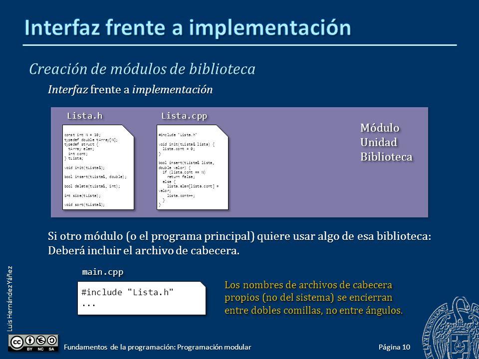 Luis Hernández Yáñez Creación de módulos de biblioteca Interfaz: Definiciones y declaraciones de datos y subprogramas (prototipos).