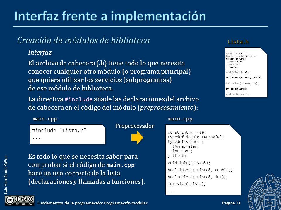 Luis Hernández Yáñez Creación de módulos de biblioteca Interfaz frente a implementación Si otro módulo (o el programa principal) quiere usar algo de esa biblioteca: Deberá incluir el archivo de cabecera.